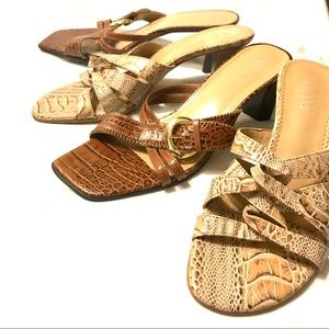 FRANCO SARTO Brown Tan Cream Reptile Bundle Size 8